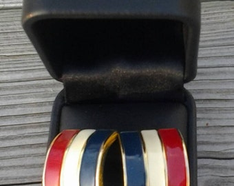 Vintage Red White Blue Striped Pierced Earrings with Gold Trim and Back