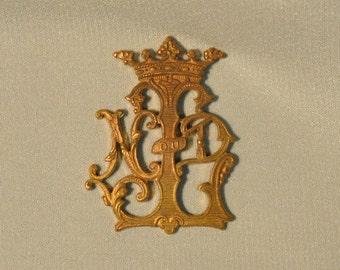 Vintage French Crown Notre Dame de Lourdes Our Lady Raw Brass Monogram Emblem 1 Piece 87J