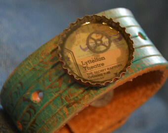 At The Theatre Recycled Leather and Bottlecap Cuff