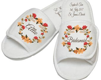Fall wedding, personalised autumn wedding bridal party slippers, personalised bridesmaid slippers, autumn leaves wedding