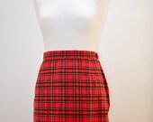 Vintage 1970s Red Tartan ALine Skirt  Mini Short High Waist CrissCross Button Zip Lined 70s 80s 90s Retro Preppy