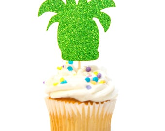 12 Count Glitter Succulent Cupcake Topper Baby Shower Cupcake Topper First Birthday Cupcake Topper Gold Glitter Birthday Decorations