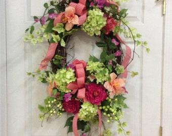 summer garden wreath, pink and green wreath, wreath for home, summer door wreath, grapevine door wreath, wreath with hydrangeas, door wreath
