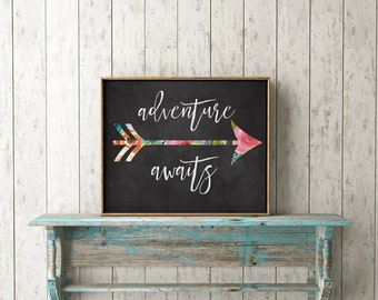 Adventure Awaits Print-Arrow Print-Floral Arrow-Inspirational Print-Tribal Print-Travel-Chalkboard-Printable-Instant Download-Wall Art Decor