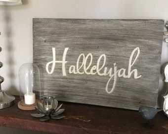 Christian Hallelujah wooden hand painted sign.
