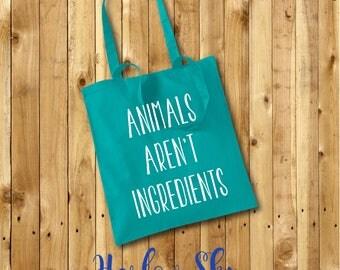 ANIMALS AREN'T INGREDIENTS 100% Cotton Tote Bag Vegan Vegetarian Friend Gift Present Shopping Reuseable Birthday Christmas