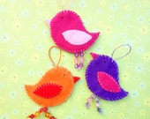 Felt bird ornaments, set of 3, wall hanging, home decor, spring, housewarming gift