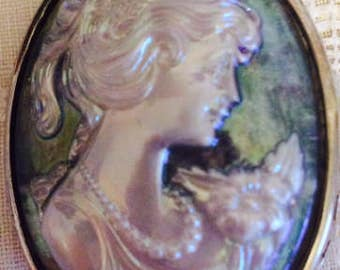 White and Blue Girl with Flower Cameo Brooch