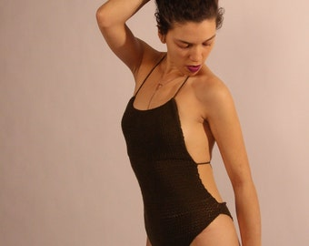 Organic Olive Cotton Knit Backless Bodysuit
