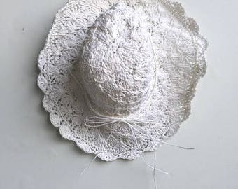 White Straw Floppy Sun Hat // Floppy Straw Beach Hat