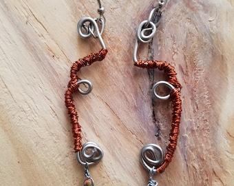 Rhodonite Dangle Loop Earrings