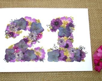 No 21, 21st Anniversary Mum, 21st Anniversary Wife, Husband 21st Anniversary, Friend 21st Birthday, Blank Card,English Pressed Flower  PRINT