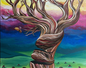 "Hand painted canvas titled ""hang on"" size 60 x 100 cm"