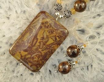 Bamboo Jasper Bronzite Citrine Necklace and Earrings set