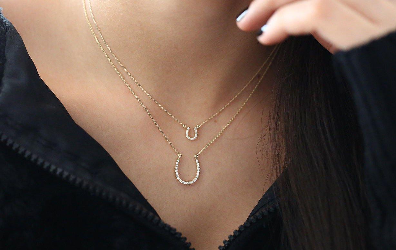 Diamond Horseshoe Necklace/14k Gold Lucky HorseShoe Charm Necklace with Diamonds/Horseshoe Pendant/ Minimalist Pendant/ Mothers Day Gift