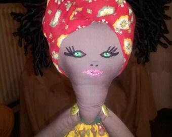 Rag doll, Momina, doll, black doll, doll of color, fabric 63 CM doll handmade
