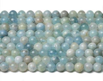 8mm aquamarine beads natural aquamarine 8mm round aquamarine stone genuine aquamarine gemstone mala aquamarine round beads untreated beads