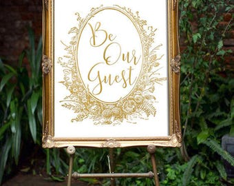 Beauty And The Beast Wedding Decor - Be Our Guest | Disney Wedding Decor | Beauty And The Beast Print | Fairytale Wedding | Wedding Sign