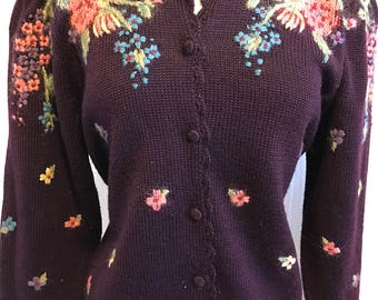 Hand Embroidered Wool Sweater Cardigan Purple Size Medium Vintage Classic  80s Style Embroidered Flowers Herman Geist Brand