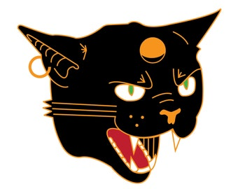 "Hell Cat Pin: 1.5"" Hard Enamel Lapel Pin"