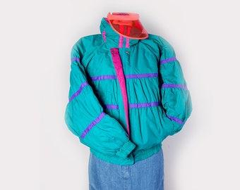 Puffy Jacket•80' Ski Jacket•down Filled jacket•80s •Neon jacket•Multicolored jacket•insulated Puffer Coat•oversized puffy vintage jacket