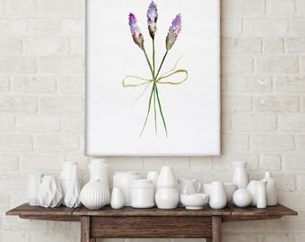 Lavender Painting, Minimalist Flower Art Print, Giclee, Plant Drawing, Watercolor Minimalist Floral Wall Art, Botanical Illustration
