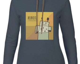 Women's Hooded Long-sleeved T-shirt Graphic (ROBOTS) - Stringtheorist Official Merchandise
