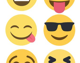 Emojis printable tag sticker label instant download