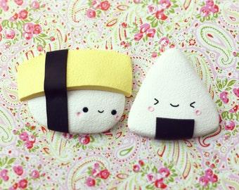 Super Kawaii Sushi Magnets, Set of two Cute Magnets, Onigiri and Nigiri, Best Friends Magnets, Miniature Food