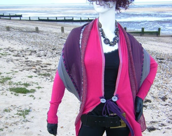 Unique, Upcyled, Pink, Purple & Grey Long-line Cardigan