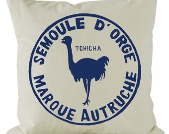 French Sac cushion screen printed onto calico in french navy