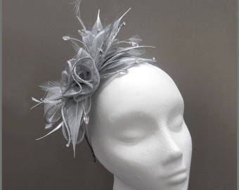 Wedding headpiece, metallic silver floral fascinator, made to order, christening, diamanté, formal event, garden party, headband, aliceband