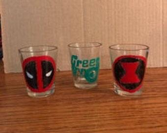 Custom made Superhero or Villain Shot Glasses