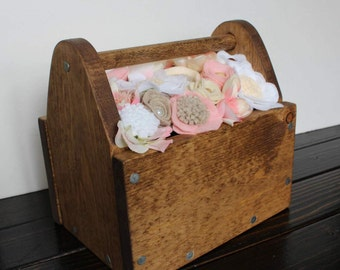 Wooden Flower Filled Tool Box Centerpieces