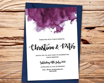 Pink Magenta Watercolour Printable Wedding Invitation Set