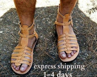 ADONIS men leather sandals/ men Greek leather sandals/ Gladiator sandals/ mens ancient grecian sandals/men roman sandals/ men strappy sandal