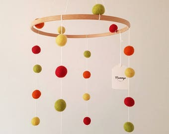 Felt Ball Mobiles, Cot Mobile, Nursery Accessory, Handmade, Rainbow Combination
