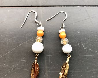 Boho White and Amber Beaded w/Gold Colored Feather Earrings