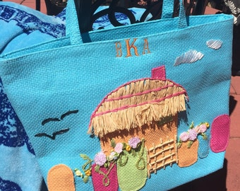 Monogrammed Straw Tote in Aqua or Pink
