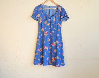 Vintage 90s Blue Floral Short Summer Prairie Dress - Isabel Ardee - Women's 4