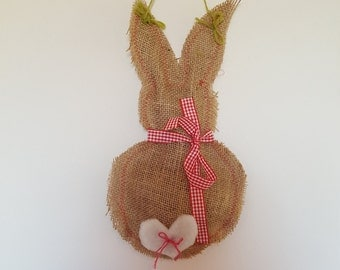 Hessian Easter Bunny Wall Hanging (with red gingham bow and fuzzy heart tail)