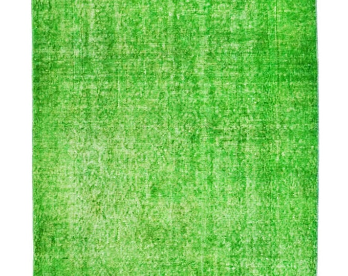 Free Shipping 219 cm x 110 cm/ 7,18 x 3,60 ft / GREEN VINTAGE RUG - Overdyed Rug - Turkish Carpet - Turkish Vintage Rug - Turkish Kilim Rug
