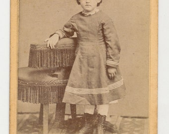 Antique CDV Photograph from the 1800s of Meek Little Girl Leaning on Stool Auburn Texas
