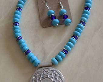 Turquoise & Navy with Silver Pendant Set