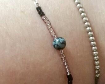 Silver Bracelet and Obsidian-Lady