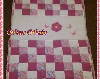 Baby girl patchwork quilt handmade, bedding