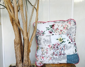Pillow decorated with flowers  patchwork handmade