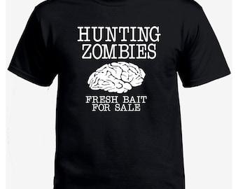 Hunting zombies fresh bait brain for sale geek black t-shirt