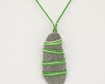 Sea Side Pebble wrapped in silver wire and green cord, treasure gift, unique birthday present, ladies pendant