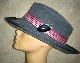 woman in felt Hat handmade
